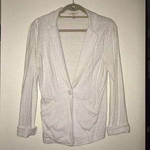 White Caslon Knit One-Button Blazer